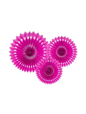 3 gab, Dekoratīvās rozetes, tumši-rozā, 20, 25, 30 cm