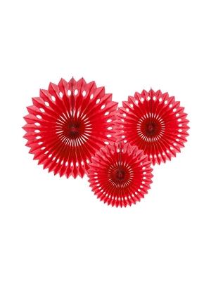 3 gab, Dekoratīvās rozetes, sarkanas, 20, 25, 30 cm