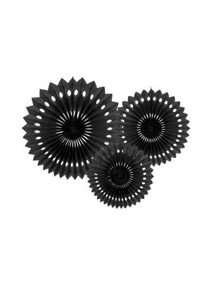 3 gab, Dekoratīvās rozetes, melnas, 20, 25, 30 cm