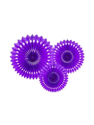 3 gab, Dekoratīvās rozetes, violetas, 20, 25, 30 cm