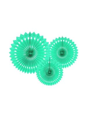 3 gab, Dekoratīvās rozetes, gaiša piparmētra, 20, 25, 30 cm