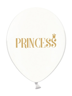 6 gab, Baloni Princess, caurspīdīgi ar zeltu, 30 cm
