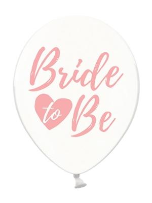 6 gab, Baloni Bride to be, caurspīdīgi ar rozā, 30 cm