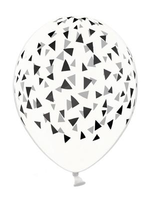 6 gab, Baloni ar trijstūriem, caurspīdīgi ar melnu, 30 cm