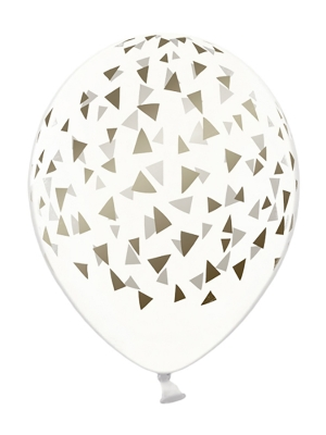 6 gab, Baloni ar trijstūriem, caurspīdīgi ar zeltu, 30 cm