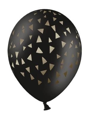 6 gab, Baloni ar trijstūriem, melns ar zeltu, 30 cm