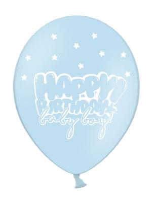 6 gab, Baloni Daudz laimes dzimšanas dienā mazulis, zils ar baltu, 30 cm