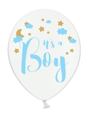 6 gab, Baloni It`s a Boy, balts ar zilu, 30 cm