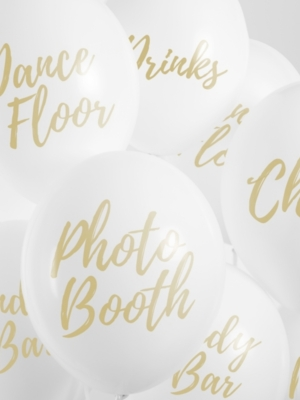 5 gab, Baloni ballītei, balti ar zeltu, 30 cm