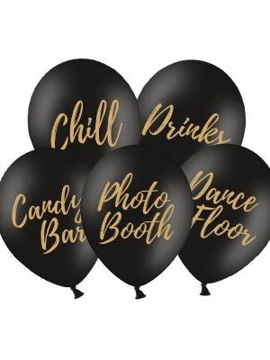5 gab, Baloni ballītei, melni ar zeltu, 30 cm