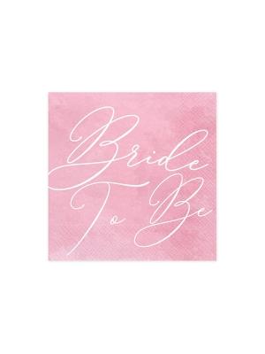 20 gab, Salvetes Bride to be, rozā ar baltu, 33 x 33 cm