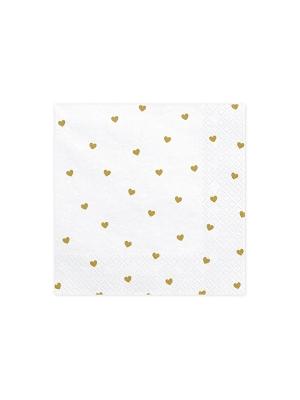 20 gab, Salvetes Sirdis, baltas ar zeltu, 33 x 33 cm