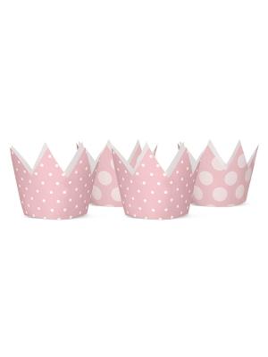 4 gab, Svētku cepures - gaiši rozā kronīši, 10 cm