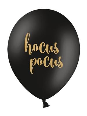 6 gab, Baloni Hocus Pocus, melni ar zeltu, 30 cm