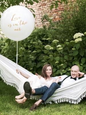1 metra balons, Love is in the air, balts ar zeltu