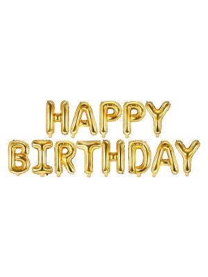 Folijas balons Happy Birthday, zelta, 340 x 35 cm