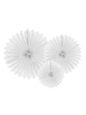 3 gab, Dekoratīvās rozetes, baltas, 20, 30, 40 cm