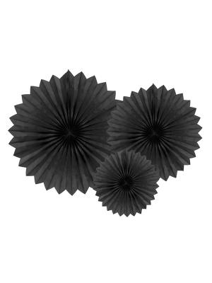 3 gab, Dekoratīvās rozetes, melnas, 20, 30, 40 cm