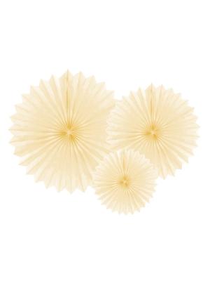 3 gab, Dekoratīvās rozetes, gaiša krēmkrāsa, 20, 30, 40 cm