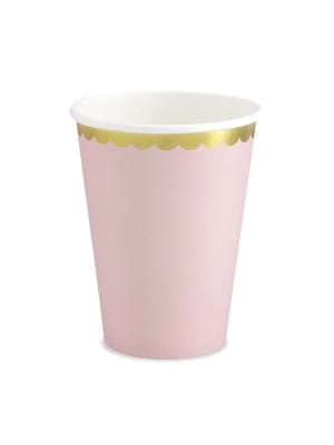 6 gab, Papīra glazītes, gaiši rozā ar zeltu, 220 ml