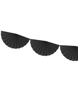 Virtene no rozetēm, melna, 30 cm x 3 m