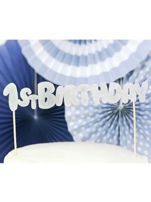 Tortes dekors 1st Birthday, sudraba, 19.5 cm