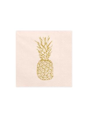 20 gab, Salvetes Aloha, gaišs persiks ar zelta ananāsiem, 33 x 33 cm