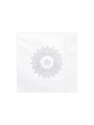 20 gab, Salvetes Kristībām - IHS, baltas ar sudrabu, 33 x 33 cm