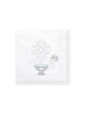 20 gab, Salvetes Kristībām, baltas ar sudrabu, 33 x 33 cm