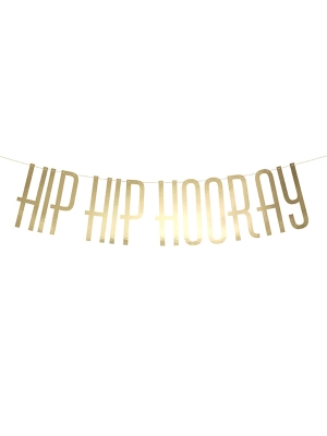 Baneris Hip Hip Hooray, zelta, 15 x 120 cm
