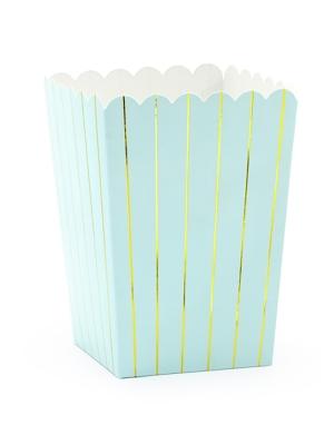 6 gab, Kastītes popkornam, gaiši zilas ar zeltu, 7 x 7 x 12.5 cm