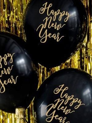 6 gab, Baloni Happy New Year, melns ar zelta, 30 cm