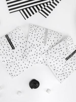 6 gab, Papīra maisiņi,  Melns ar baltu, 13 x 14 cm