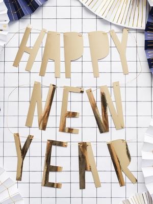 Baneris Laimīgu Jauno gadu, zelta, 10 x 90 cm