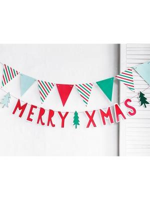 Baneris Priecīgus Ziemassvētkus, sarkans, 12 x 120 cm