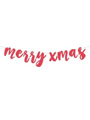 Baneris Priecīgus Ziemassvētkus, sarkans, 15 x 120 cm