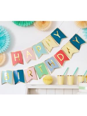 Baneris Daudz laimes dzimšanas dienā, krāsains, 15 x 175 cm