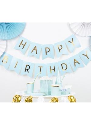 Baneris Happy Birthday, gaiši zils ar zeltu, 15 x 175 cm