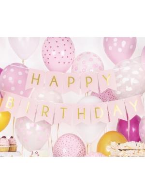 Baneris Happy Birthday, gaiši rozā ar zeltu, 15 x 175 cm