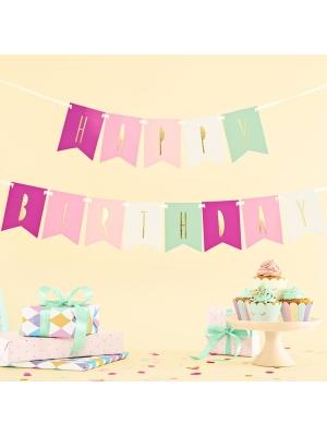 Baneris Happy Birthday, krāsains ar zeltu, 11.5 x 140 cm