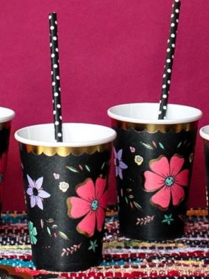 6 gab, glazītes - melnas ar ziedu rakstu, 220 ml