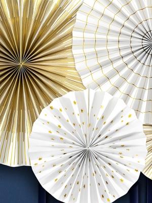 4 gab, Dekoratīvās rozetes Laimīgu Jauno gadu, baltas ar zeltu, 40 cm, 32 cm, 23 cm