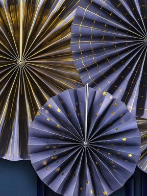4 gab, Dekoratīvās rozetes Laimīgu Jauno gadu, tumši zilas ar zeltu, 40 cm, 32 cm, 23 cm