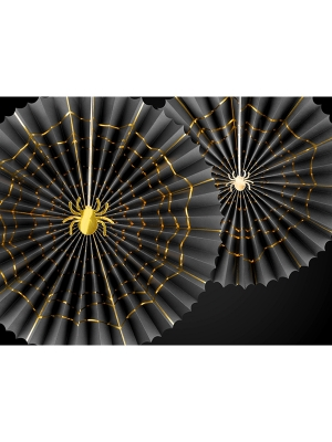 2 gab, Dekoratīvās rozetes Saldumi vai izjokosim ar 2 zirnekļiem, melnas ar zeltu, 40 cm, 32 cm