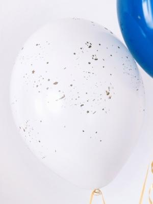 Balons, caurspīdīgs balts ar zeltu, 30 cm