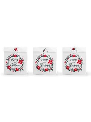 3 gab, Dāvanu maisiņi Priecīgus Ziemassvētkus, balti ar rakstu, 25 x 11 x 27 cm