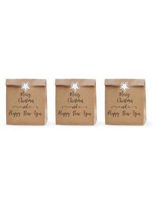 3 gab, Dāvanu maisiņi Priecīgus Ziemassvētkus un Laimīgu Jauno gadu, kraft papīrs ar rakstu, 25 x 11 x 27 cm
