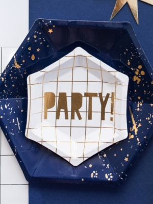 6 gab, MINI šķīvīši - Party!, balti ar zeltu, 12.5 cm