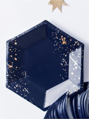 6 gab, šķīvīši, tumši zili ar zeltu, 20 cm
