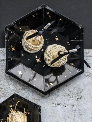 6 gab, šķīvīši, melni ar zeltu, 20 cm